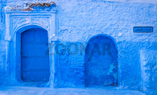 Two blue doors in Chefchaouen, Medina, Morocco