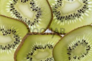 Several slices of a cut kiwi fruit in backlight foto shot