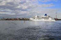 White Cruiseliner Ferry Arrives in Helsinki, Finland