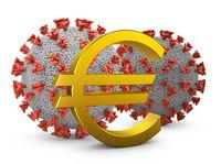 euro sign and coronovirus