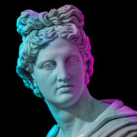 Statue of of Apollo God of Sun. Creative concept colorful neon image with ancient greek sculpture Apollo Belvedere head. Webpunk, vaporwave and surreal art style. Isolated on a black.