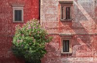 Vintage wall with old weathered render in Rome, Italy