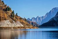 Autumn alpine Fedaia mountain Lake and Pass
