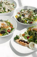 mixed fresh organic salads on white restaurant table