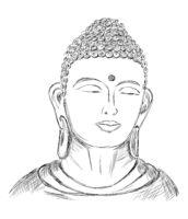 Hand drawn Face, Buddha Sketch - Vector Illustration
