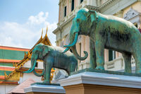 Elephant statues in front of Grand Palace in Bangkok