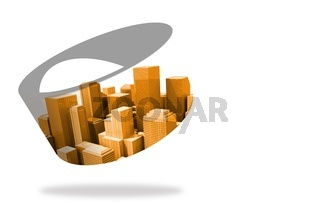 Orange cityscape on abstract screen