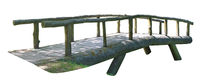 A wooden aged handmade  arched bridge from logs in forest isolated