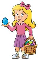 Girl with Easter eggs theme image 1
