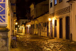 Night view of the city of Paraty with its old and historical colonial style houses