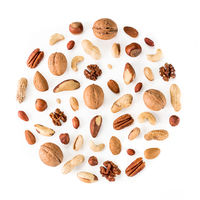 Pattern of nuts in circle form isolated on whie