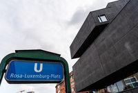Rosa Luxemburg Platz U-bahn station sign in Berlin