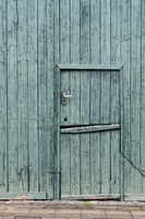 Green painted wooden Dutch Barn Door - vertical