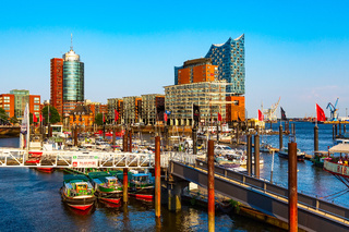 Speicherstadt district in Hamburg city, Germany