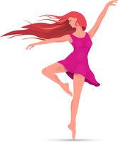 Young dancing girl in a pink dress