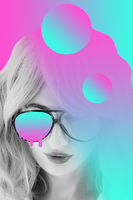 Funky woman in sunglasses. Crazy lady and surreal composition of textures, shapes, gradients. Contemporary art collage. Zine culture. Pop art. Fashion magazine style for posters, banners, wallpaper.