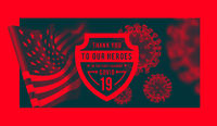 Thanks for the heroes helping to fight the coronavirus. illustration with USA flag on background.
