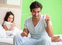 Man using pills for woman satisfaction