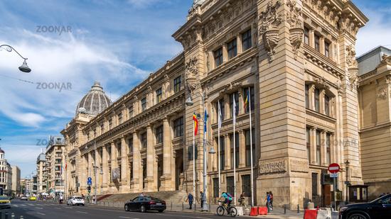 BUCHAREST/ROMANIA - SEPTEMBER 21 : Headquarters of CEC Bank in Bucharest Romania on September 21, 2018. Unidentified people