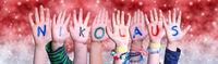 Children Hands Nikolaus Means Santa Claus, Red Christmas Background