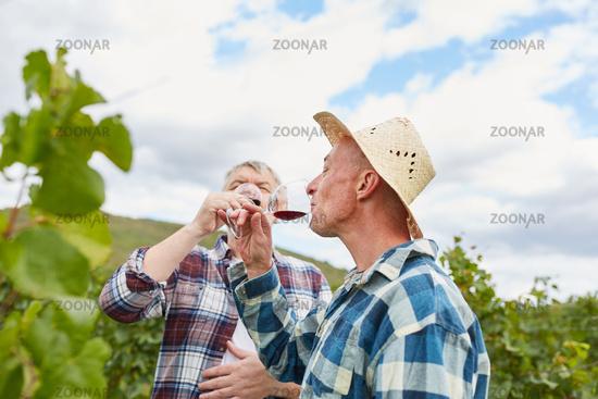 Zwei Winzer genießen ein Glas Rotwein