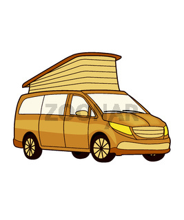 drawn motorhome with pop-top roof