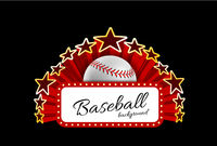 Marquee board announcement with a baseball ball on dark background. Vector