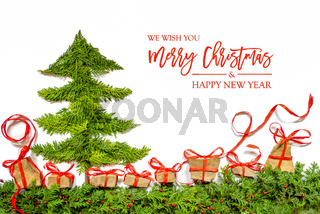 Christmas Tree, Gift And Present, Fir Branch, Merry Christmas And Happy New Year