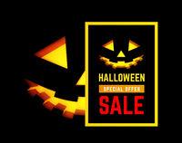 Hallloween sale vector illustration with pumpkin face