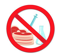 Prohibited meat with genetic manipulation, synthetic meat. Red stop sign, artificial meat product. Vector illustration
