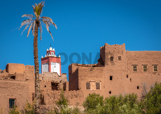 Adobe clay houses and blue sky, Tinghir, Morocco