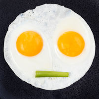 fried eggs with celery on black plate close up