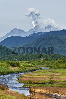 Mountain landscape: eruption Zhupanovsky Volcano on Kamchatka Peninsula