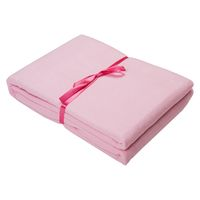 Stack of folded pink cloth isolated on white