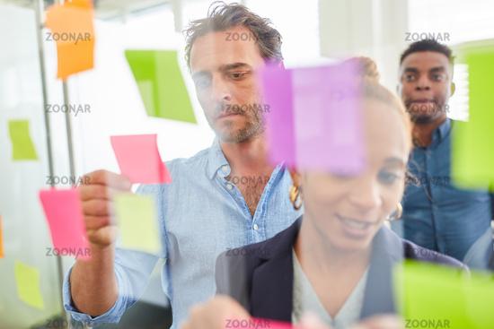 Team bei der Analyse von Ideen auf Zetteln