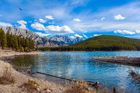 Mountain lake with emerald water