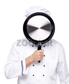 Chef with a pan in her face on white background