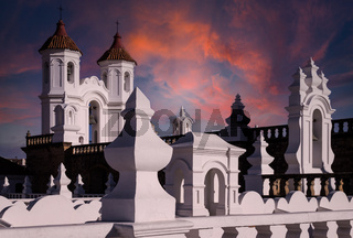 Sunset at San Felipe Neri monastery in Sucre, Bolivia