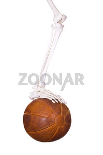 skeleton leg on old leather ball