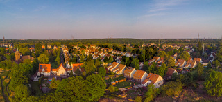 An aerial view on Essen Karnap during sunset
