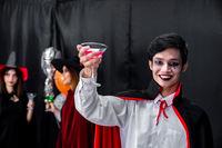 Portrait of asian man in halloween cloth