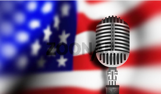 USA flag with mic. Vector illustration