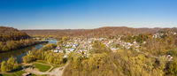 Aerial drone panorama of the downtown area of Point Marion in Pennsylvania
