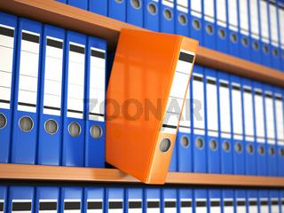 Office file binders on shelf. Archive.