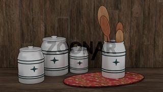 Küchenutensilien: Vorratsdosen und Holzlöffel