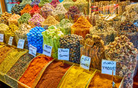 Different spices and herbs at the market