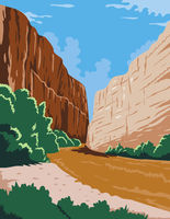 Big Bend National Park of Rio Grande Río Bravo in Chihuahuan Desert Texas WPA Poster Art Color