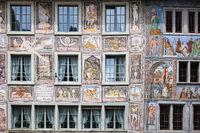 Gebäudemalerei an Häusern in der Ortschaft Stein am Rhein