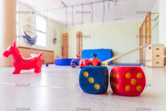 Toy foam cubes in gym hall of a pre school