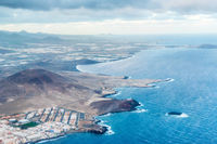 Airplane view of coastal landscape of Gran Canaria island